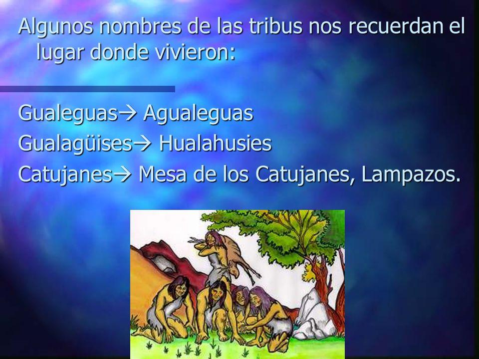 Algunos nombres de las tribus nos recuerdan el lugar donde vivieron: Gualeguas Agualeguas Gualagüises Hualahusies Catujanes Mesa de los Catujanes, Lampazos.