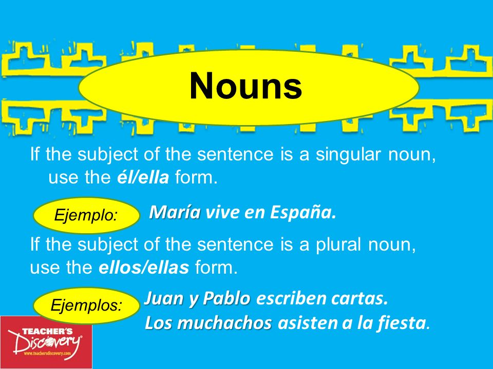 Nouns María vive en España. Juan y Pablo escriben cartas.