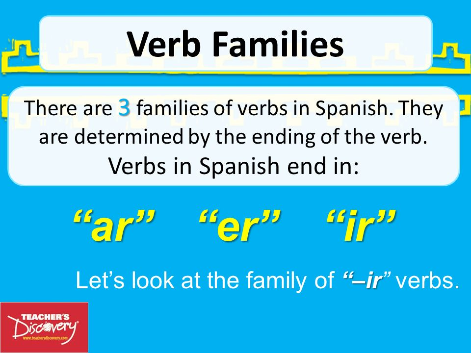 ar er ir Verb Families Let's look at the family of –ir verbs.