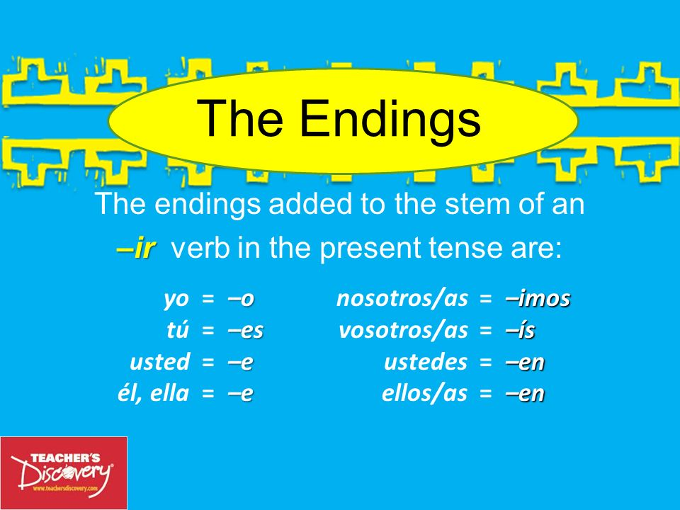 The endings added to the stem of an –ir verb in the present tense are: