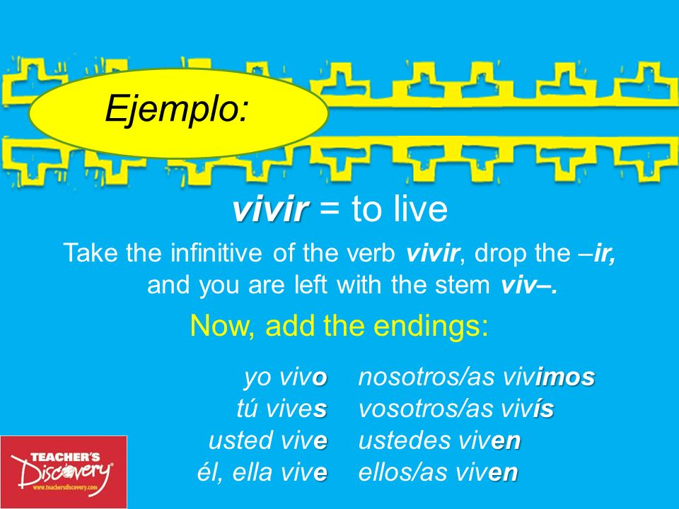 Ejemplo: vivir = to live Now, add the endings: