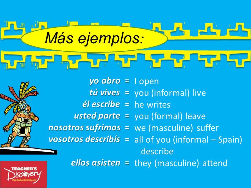 Más ejemplos: yo abro = I open tú vives = you (informal) live