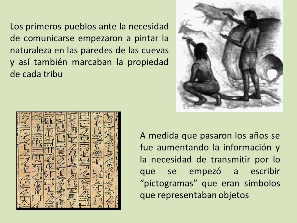 Los primeros pueblos ante la necesidad de comunicarse empezaron a pintar la naturaleza en las paredes de las cuevas y así también marcaban la propiedad de cada tribu