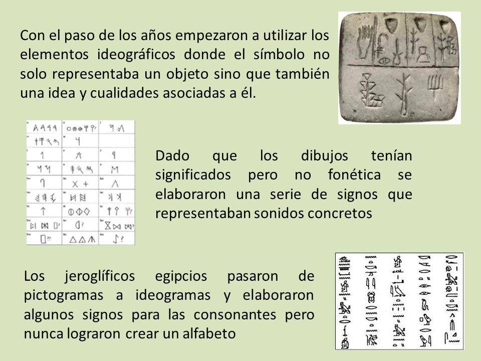 Con el paso de los años empezaron a utilizar los elementos ideográficos donde el símbolo no solo representaba un objeto sino que también una idea y cualidades asociadas a él.