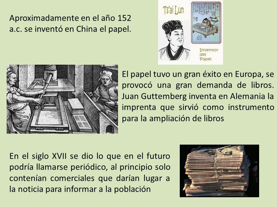 Aproximadamente en el año 152 a.c. se inventó en China el papel.