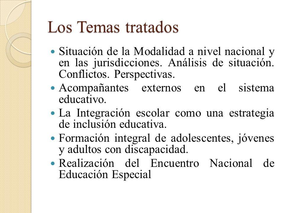 Los Temas tratados Situación de la Modalidad a nivel nacional y en las jurisdicciones. Análisis de situación. Conflictos. Perspectivas.