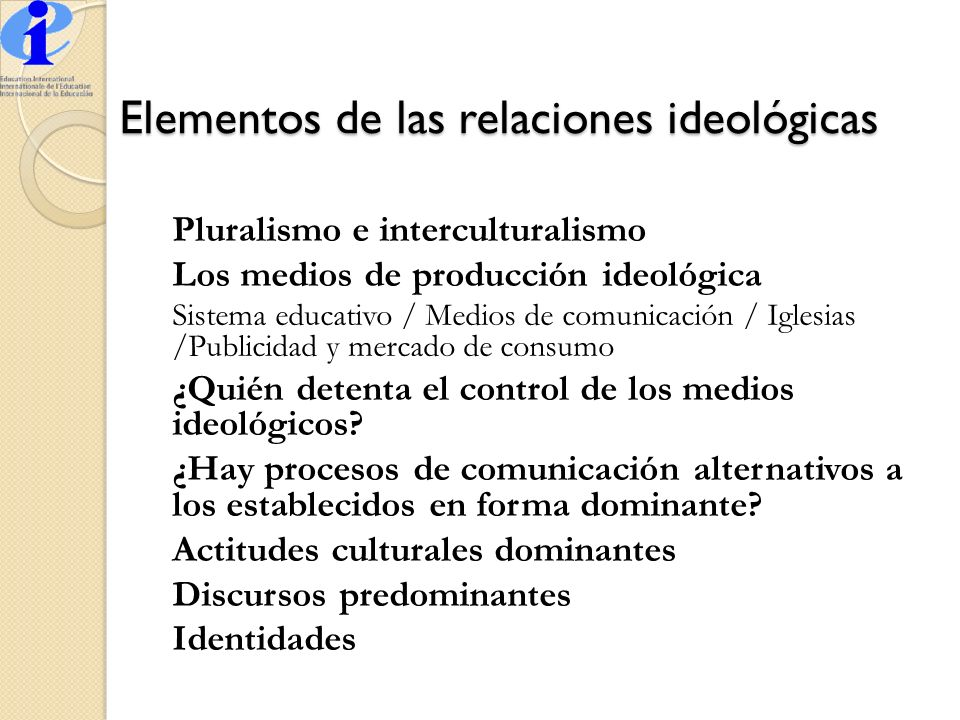 Elementos de las relaciones ideológicas
