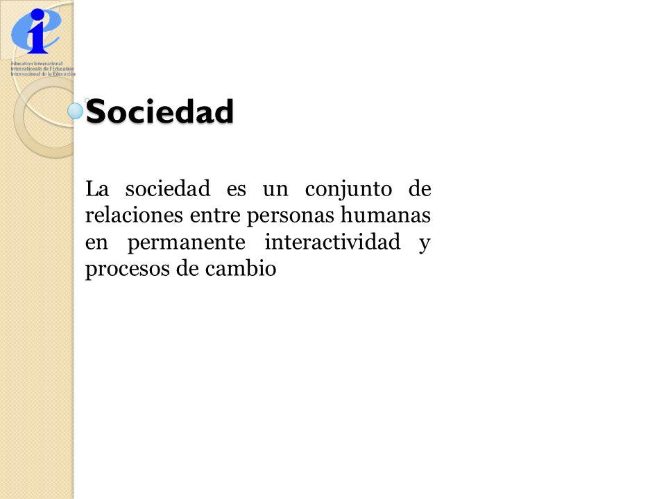 Sociedad La sociedad es un conjunto de relaciones entre personas humanas en permanente interactividad y procesos de cambio.