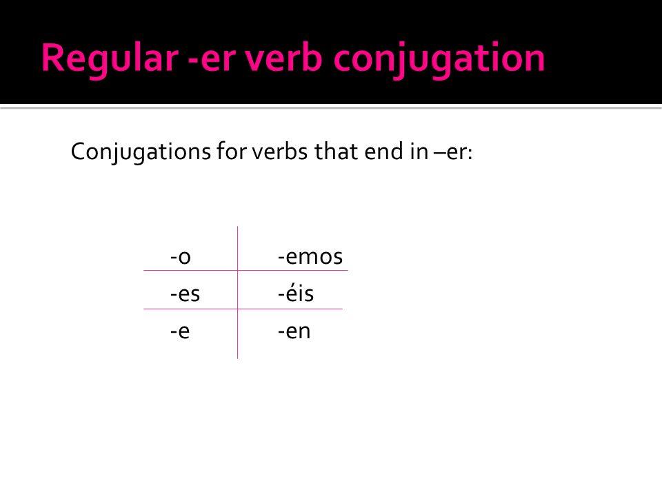 Regular -er verb conjugation