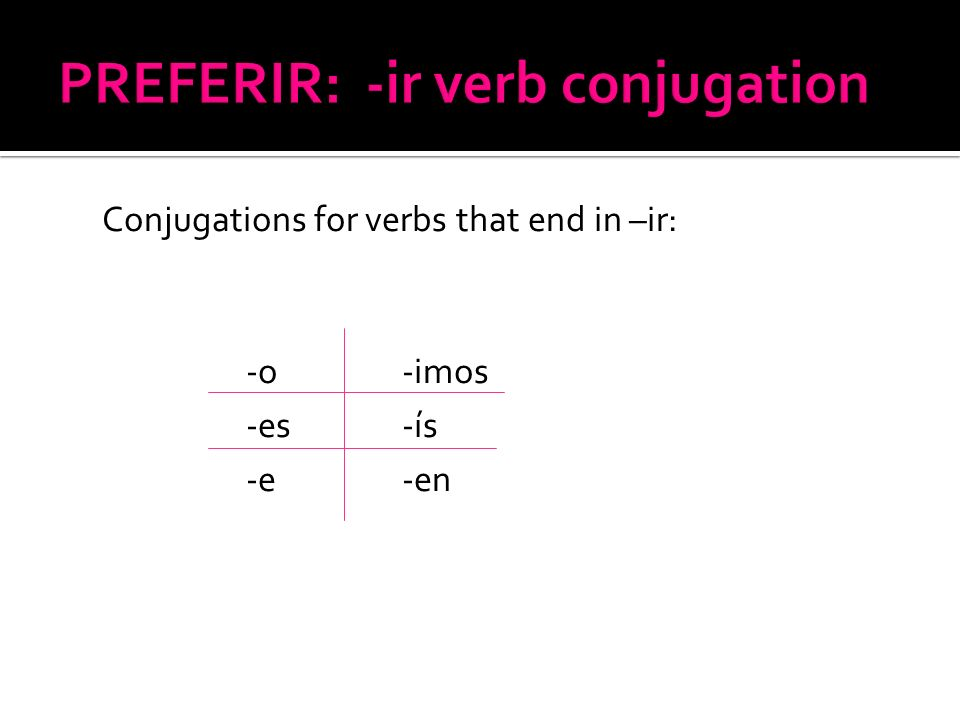 PREFERIR: -ir verb conjugation