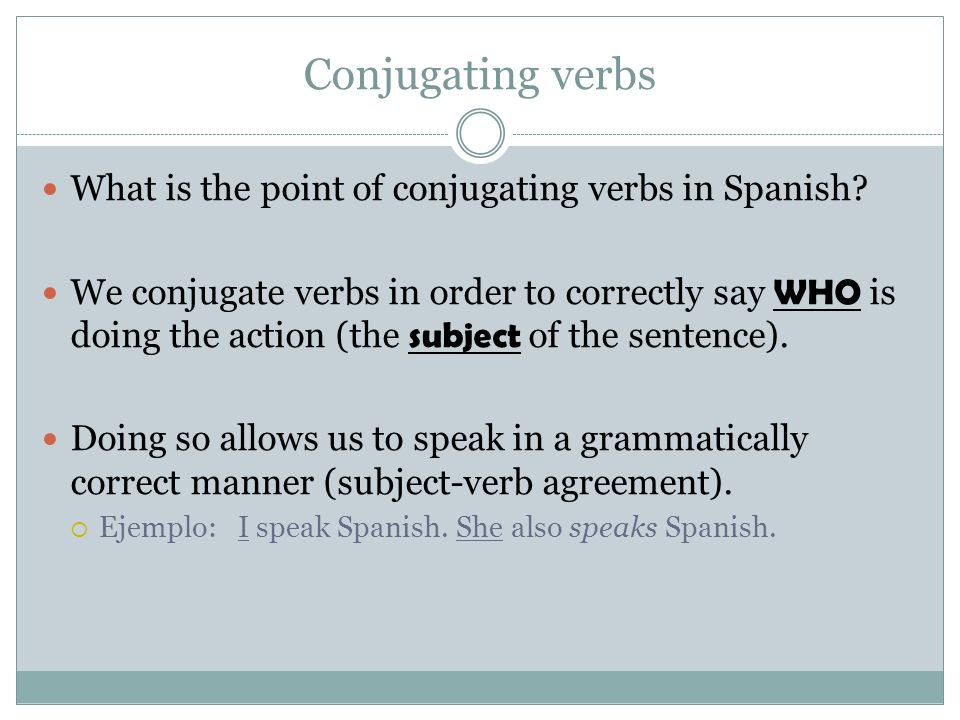 Conjugating verbs What is the point of conjugating verbs in Spanish