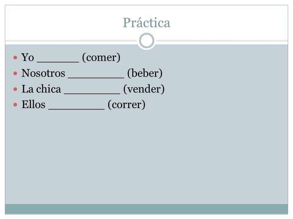 Práctica Yo ______ (comer) Nosotros ________ (beber)