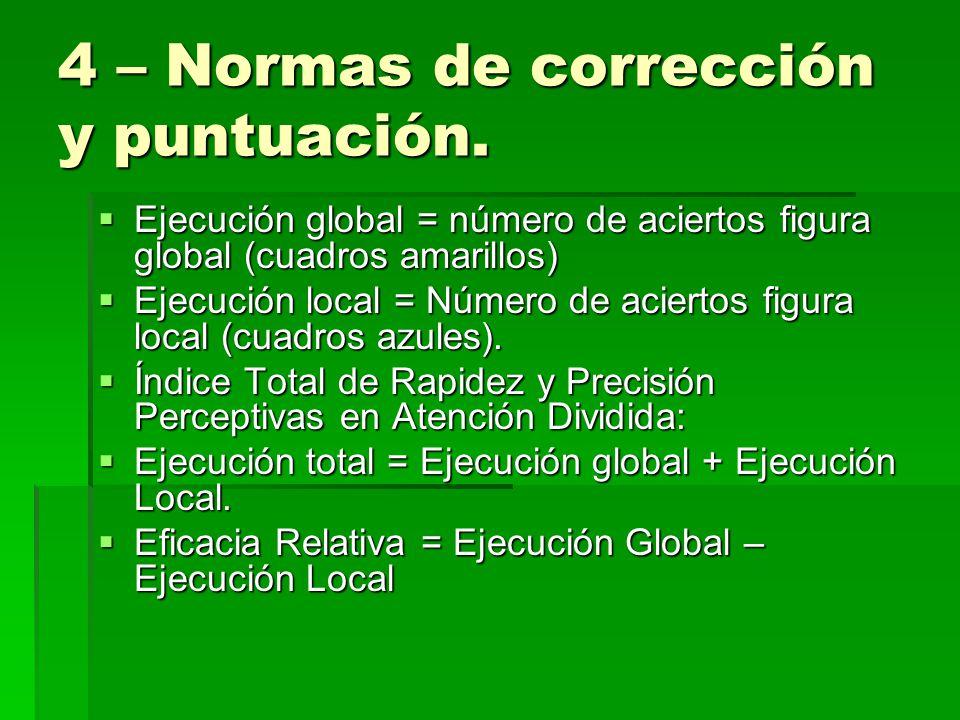 4 – Normas de corrección y puntuación.
