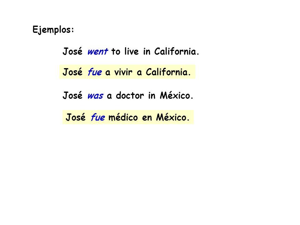 Ejemplos:José went to live in California. José was a doctor in México. José fue a vivir a California.