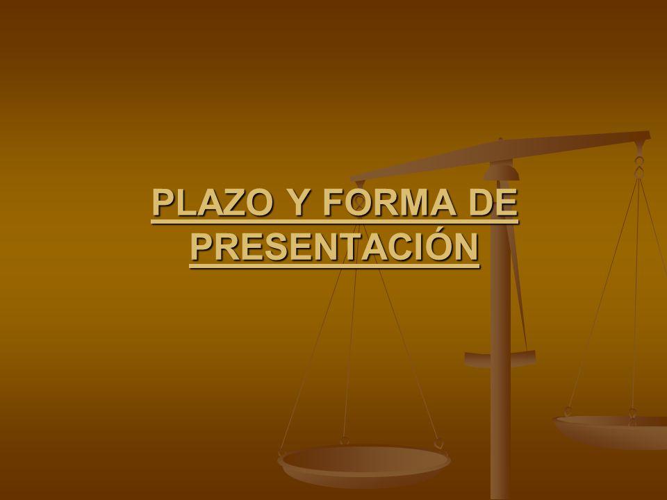 Plazo y forma de presentación