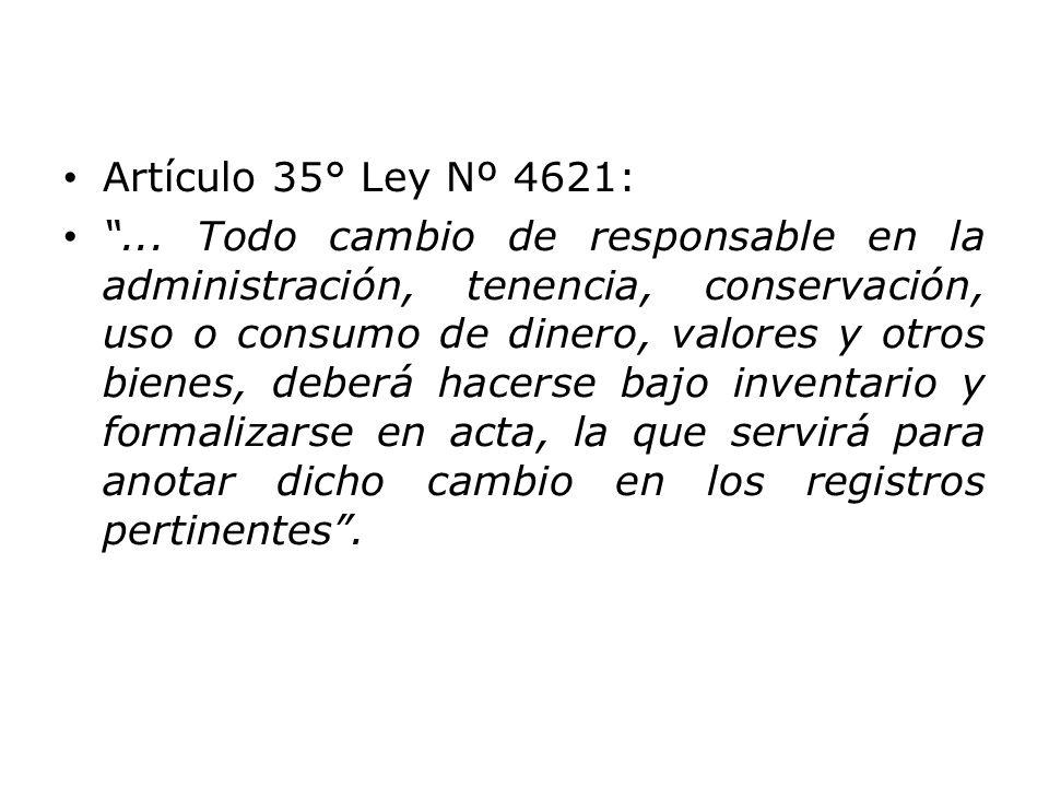 Artículo 35° Ley Nº 4621: