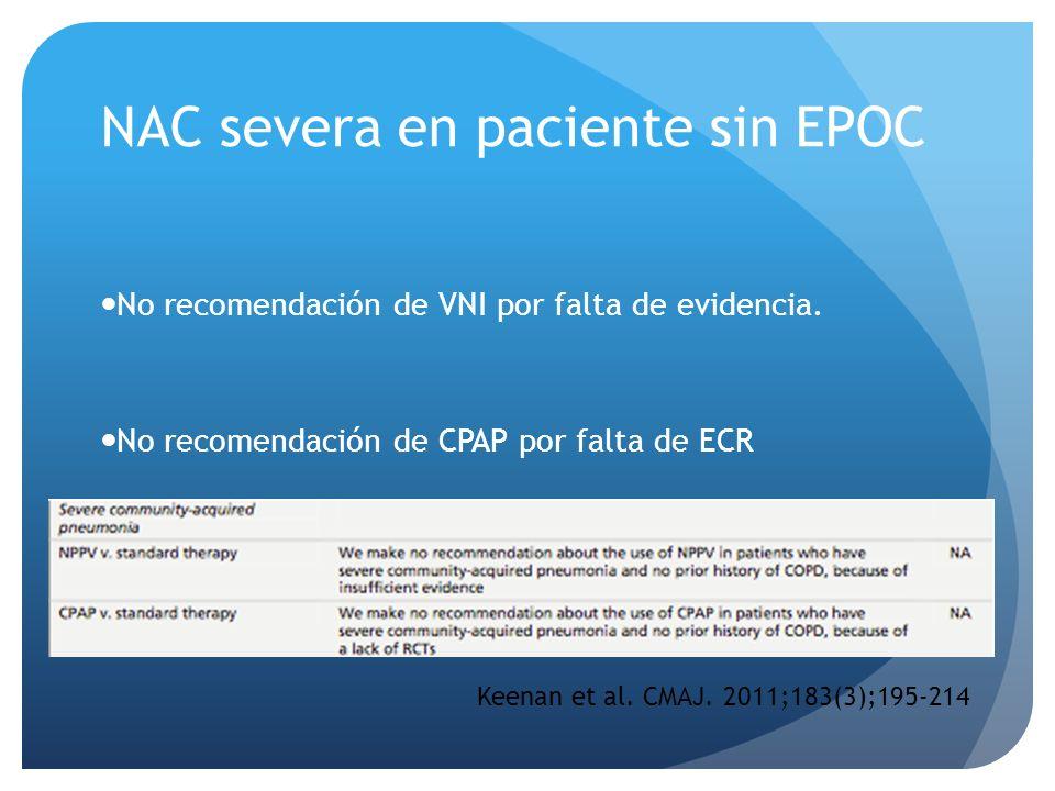 NAC severa en paciente sin EPOC