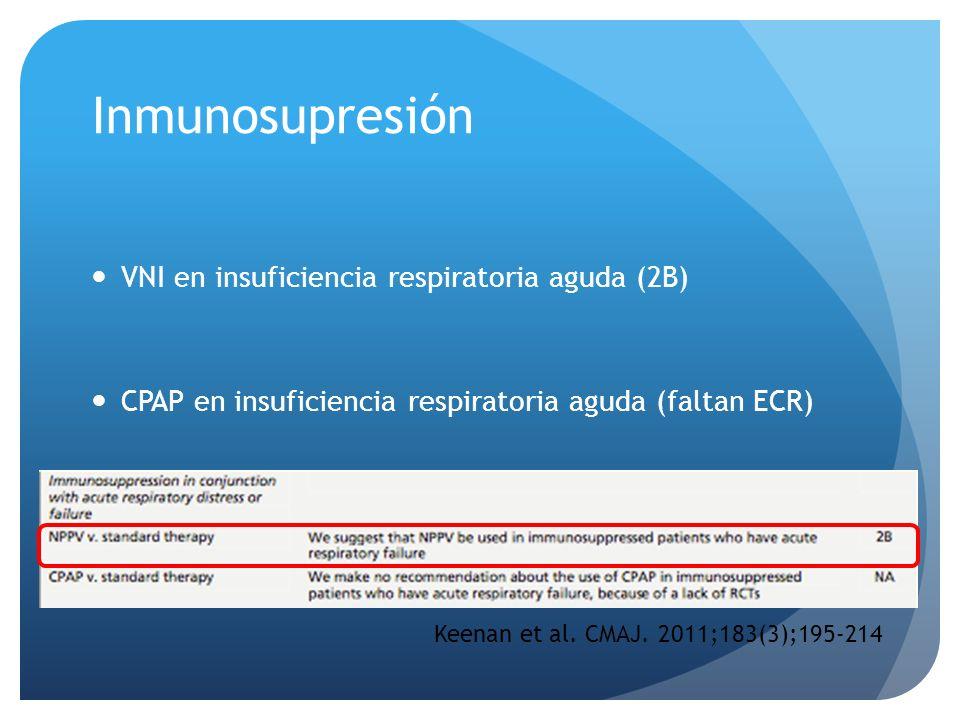 Inmunosupresión VNI en insuficiencia respiratoria aguda (2B)