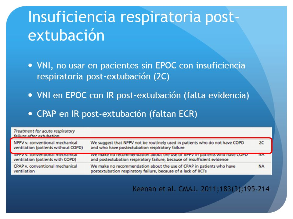 Insuficiencia respiratoria post-extubación