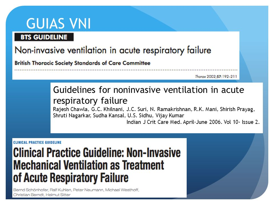 GUIAS VNI Guidelines for noninvasive ventilation in acute respiratory failure.