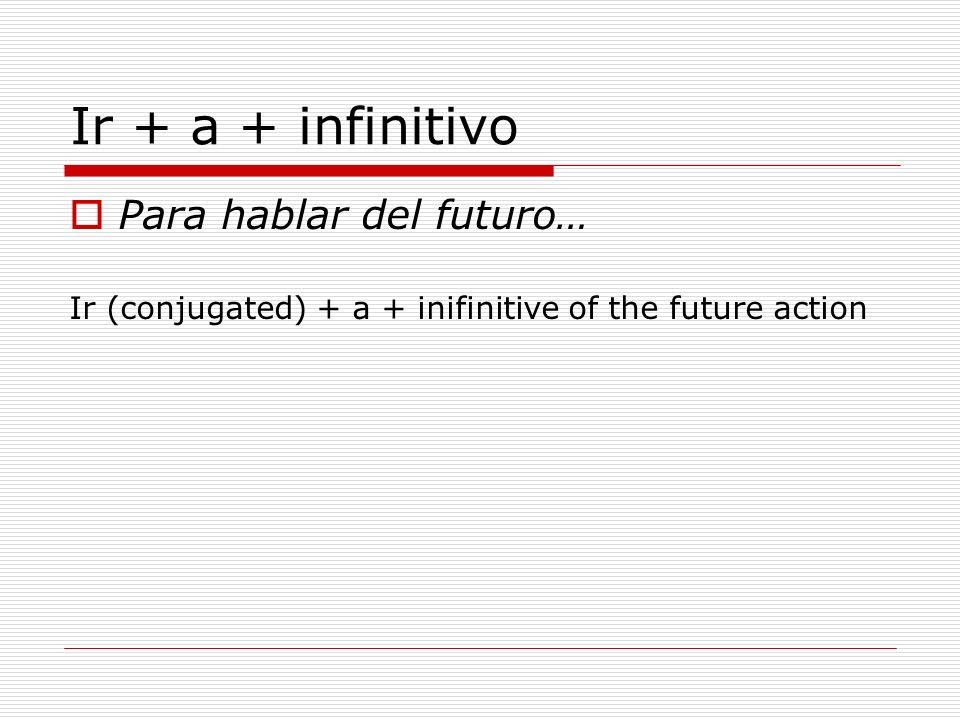 Ir + a + infinitivo Para hablar del futuro…