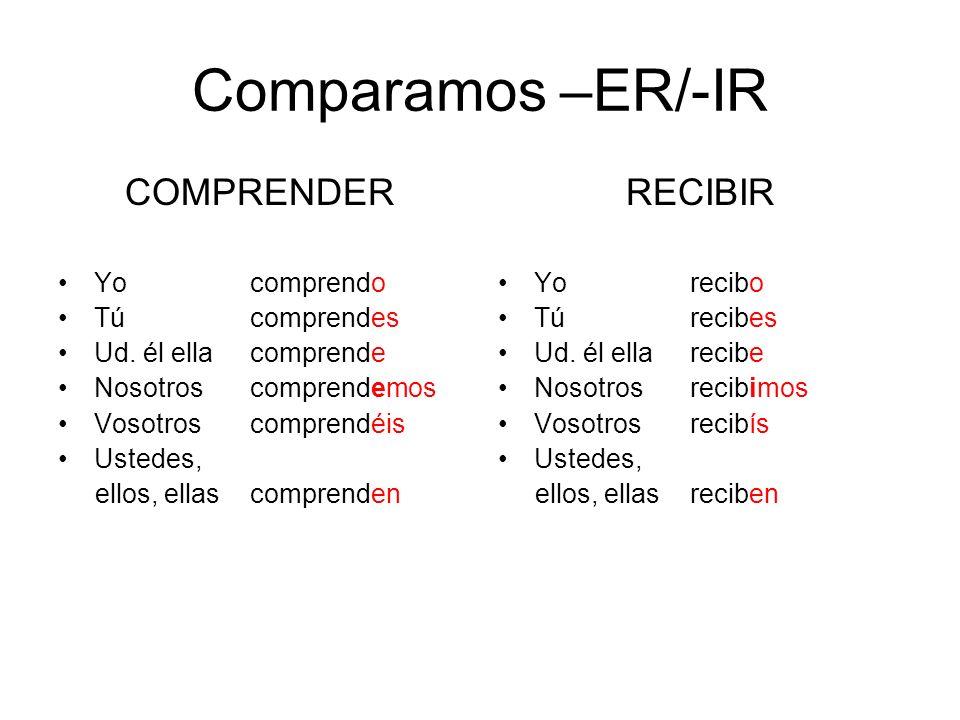 Comparamos –ER/-IR COMPRENDER RECIBIR Yo comprendo Tú comprendes