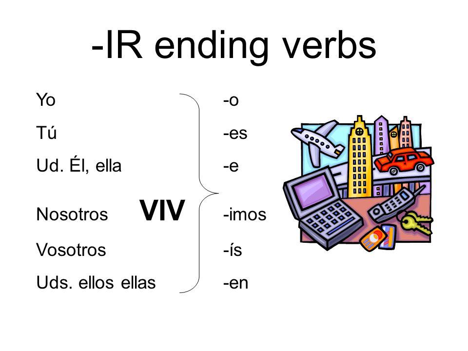 -IR ending verbs Yo -o Tú -es Ud. Él, ella -e Nosotros VIV -imos
