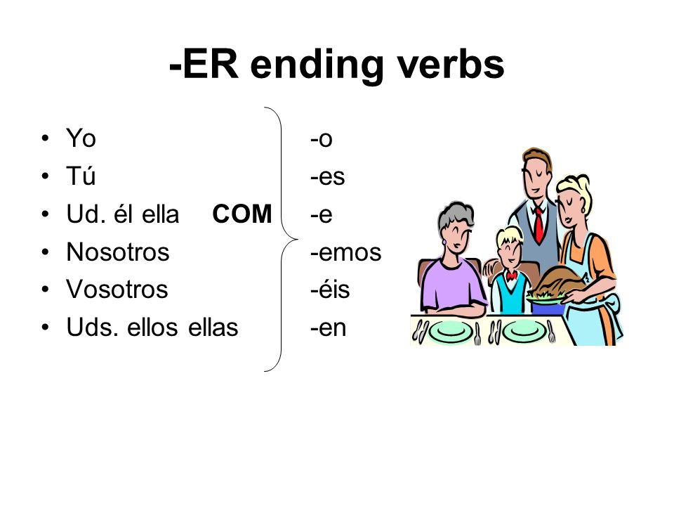 -ER ending verbs Yo -o Tú -es Ud. él ella COM -e Nosotros -emos