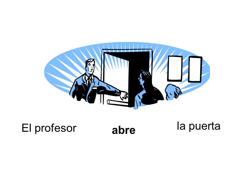 la puerta El profesor abre