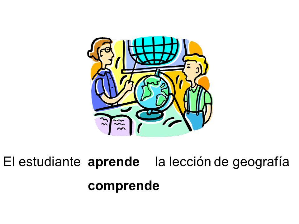 El estudiante aprende comprende la lección de geografía
