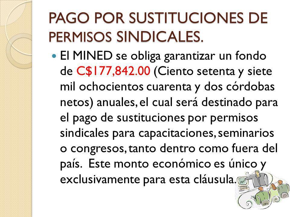 PAGO POR SUSTITUCIONES DE PERMISOS SINDICALES.