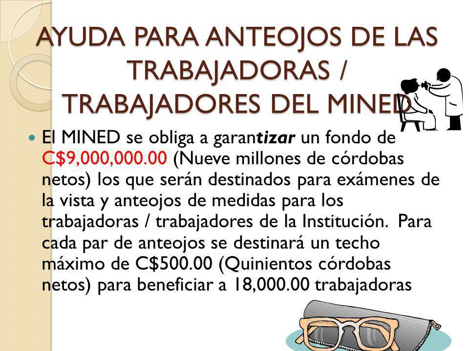 AYUDA PARA ANTEOJOS DE LAS TRABAJADORAS / TRABAJADORES DEL MINED