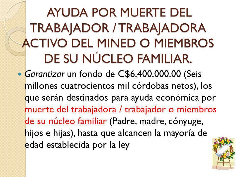 AYUDA POR MUERTE DEL TRABAJADOR / TRABAJADORA ACTIVO DEL MINED O MIEMBROS DE SU NÚCLEO FAMILIAR.