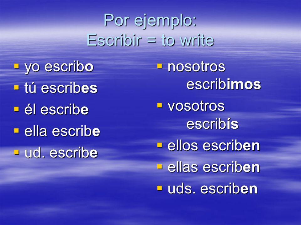 Por ejemplo: Escribir = to write