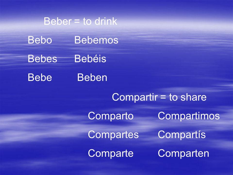 Beber = to drink Bebo Bebemos. Bebes Bebéis. Bebe Beben. Compartir = to share. Comparto Compartimos.