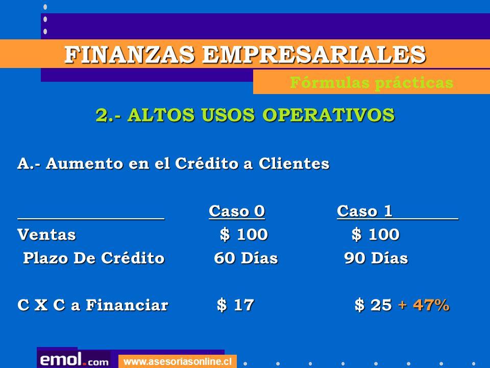FINANZAS EMPRESARIALES 2.- ALTOS USOS OPERATIVOS