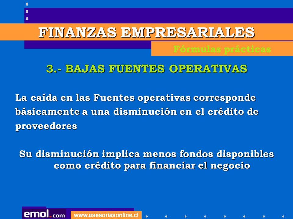 FINANZAS EMPRESARIALES 3.- BAJAS FUENTES OPERATIVAS