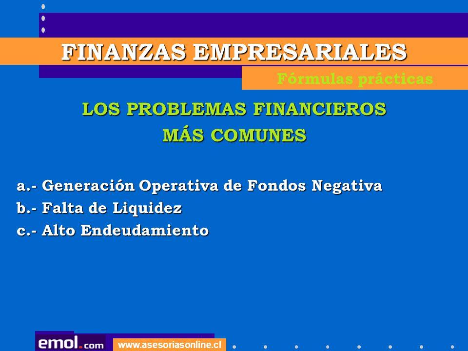 FINANZAS EMPRESARIALES LOS PROBLEMAS FINANCIEROS