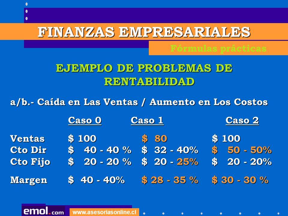 FINANZAS EMPRESARIALES EJEMPLO DE PROBLEMAS DE RENTABILIDAD