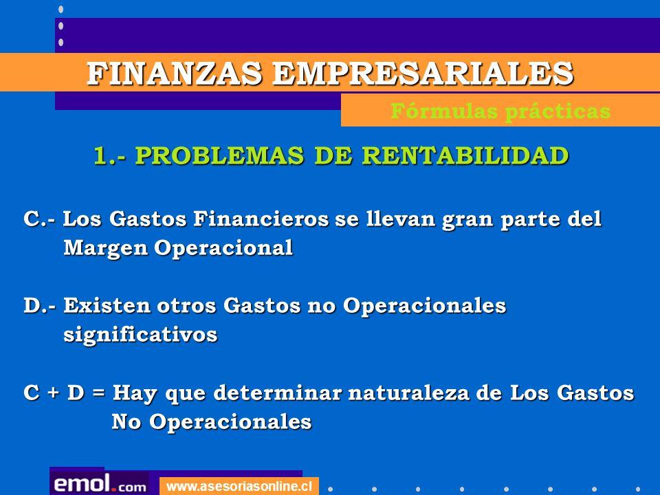 FINANZAS EMPRESARIALES 1.- PROBLEMAS DE RENTABILIDAD