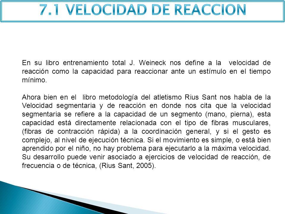 7.1 VELOCIDAD DE REACCION