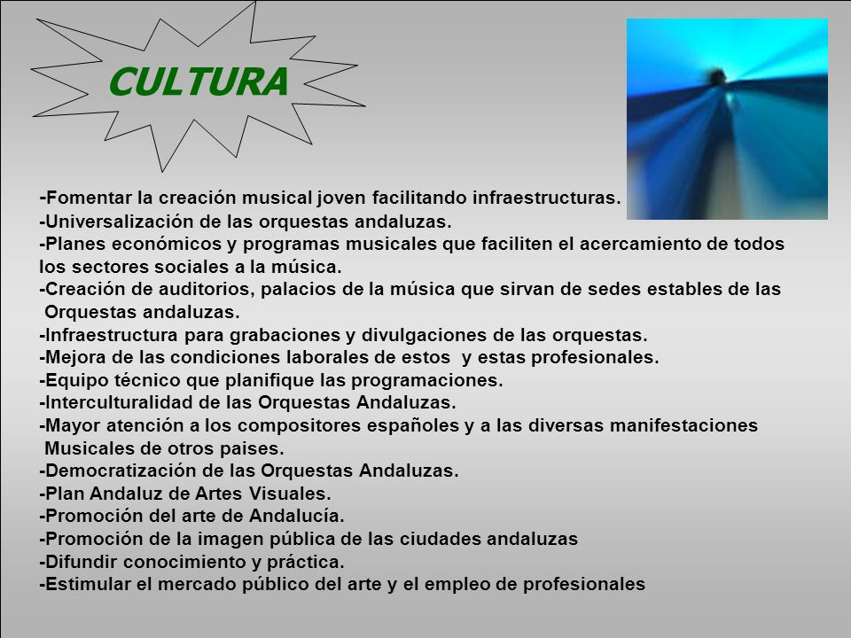 CULTURA-Fomentar la creación musical joven facilitando infraestructuras. -Universalización de las orquestas andaluzas.