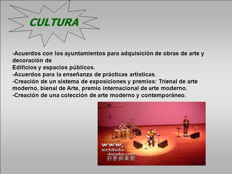 CULTURA-Acuerdos con los ayuntamientos para adquisición de obras de arte y decoración de. Edificios y espacios públicos.