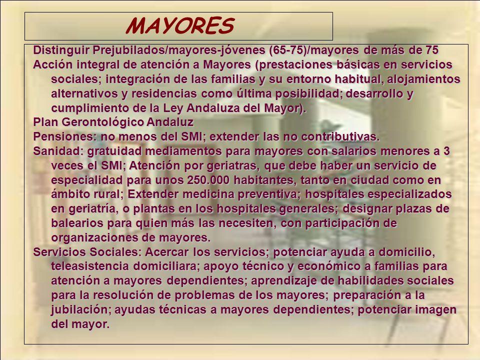 MAYORES Distinguir Prejubilados/mayores-jóvenes (65-75)/mayores de más de 75.