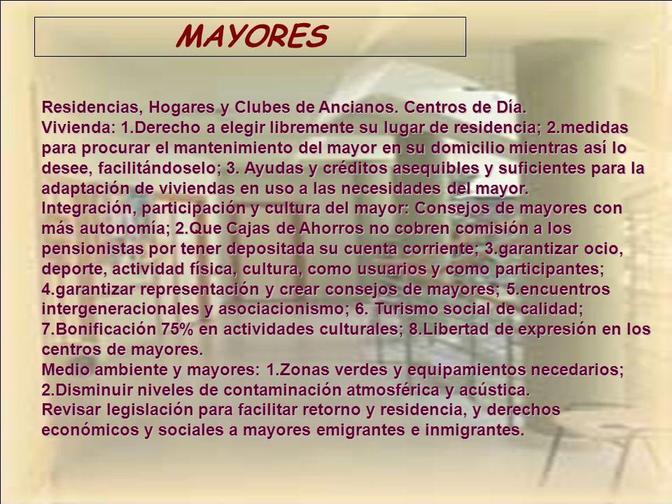 MAYORES Residencias, Hogares y Clubes de Ancianos. Centros de Día.