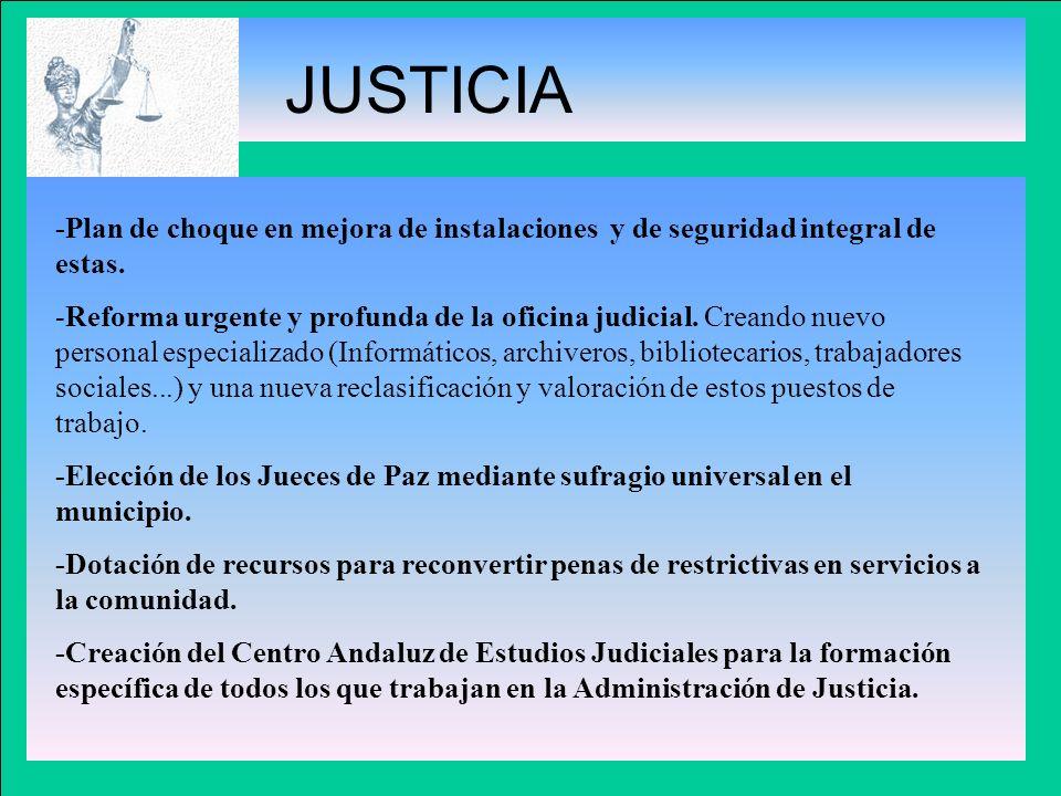 JUSTICIA -Plan de choque en mejora de instalaciones y de seguridad integral de estas.