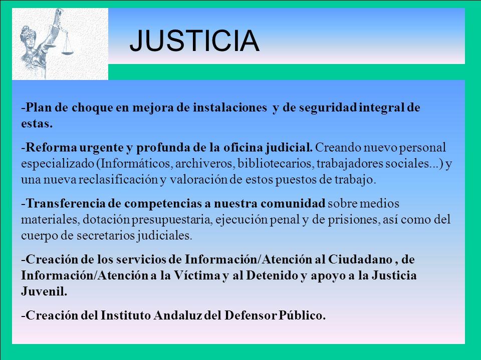 JUSTICIA-Plan de choque en mejora de instalaciones y de seguridad integral de estas.