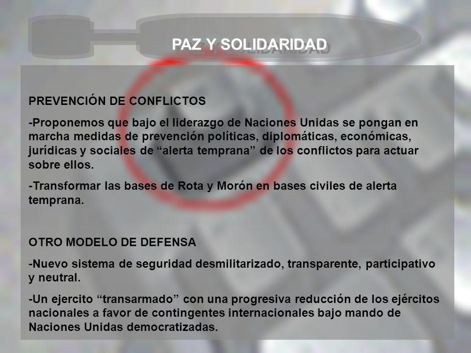 PAZ Y SOLIDARIDAD PREVENCIÓN DE CONFLICTOS