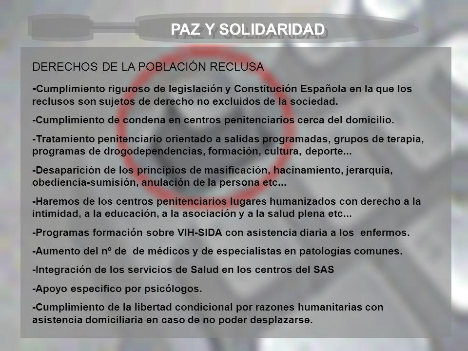 PAZ Y SOLIDARIDAD DERECHOS DE LA POBLACIÓN RECLUSA