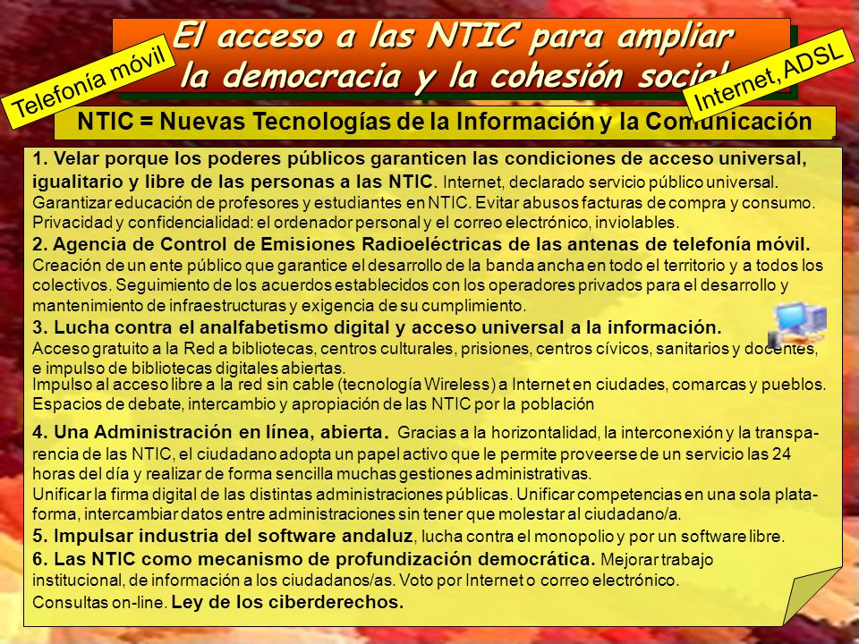 El acceso a las NTIC para ampliar la democracia y la cohesión social